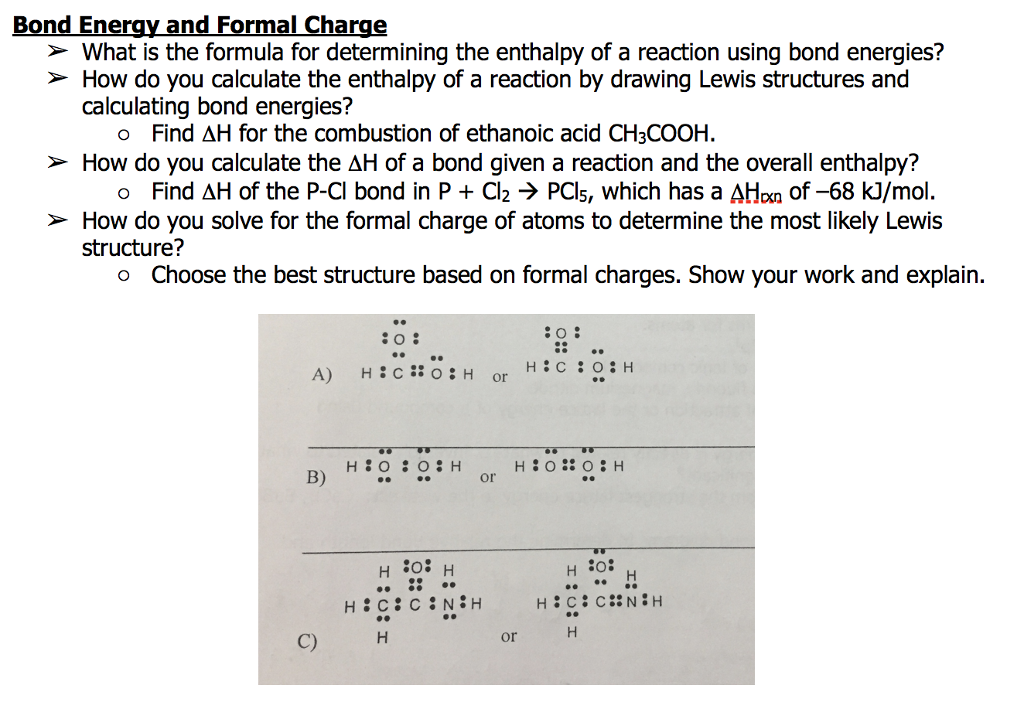 Solved Bond Energy And Formal Charge What Is The Formul