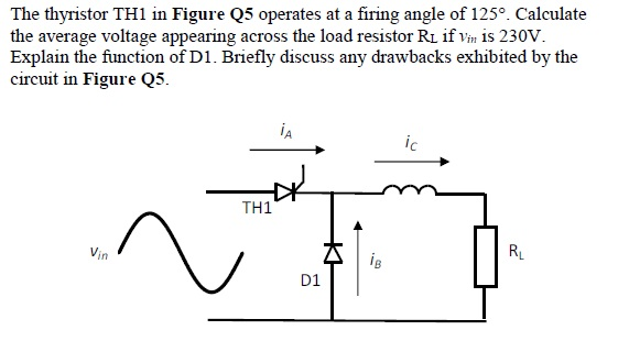 The thyristor TH1 in Figure Q5 operates at a firing angle of 125°. Calculate the average voltage appearing across the load resistor Ri if Vin is 230V Explain the function of D1. Briefly discuss any drawbacks exhibited by the circuit in Figure Q5 TH? RL in D1