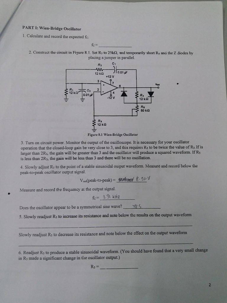 Solved Experiment 8 Rc Oscillators Help Me Write Disc R C Oscillator Circuit Diagram The Discussion May Include Comparison Of Expected Results With Result Analysis Errors And Explanation In Terms Theoretical