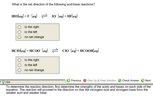 solved what is the net direction of the following acid ba