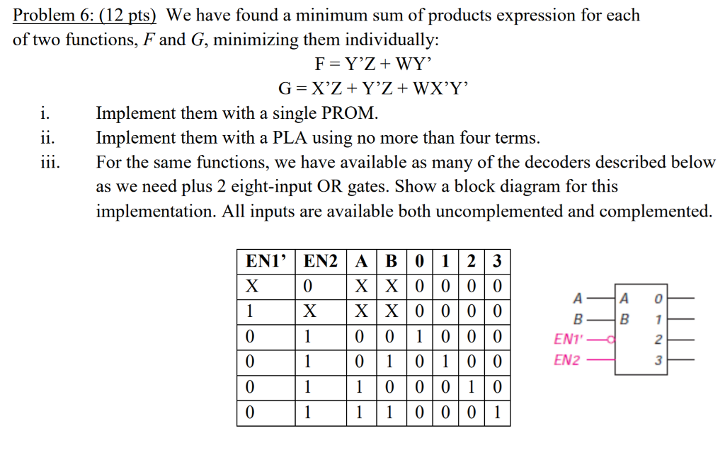 Problem 6: (12 pts) We have found a minimum sum of products expression for each of two functions, F and G, minimizing them individually: Implement them with a single PROM Implement them with a PLA using no more than four terms. For the same functions, we have available as many of the decoders described below as we need plus 2 eight-input OR gates. Show a block diagram for this implementation. All inputs are available both uncomplemented and complemented. ENI, EN2 | A | B | 0 | 1 | 2 | 3 XİX|0|0|0|0 0 A 0 0 0 1 0 00 0 1 01 00 10 000 11000 1 ENT EN2 3