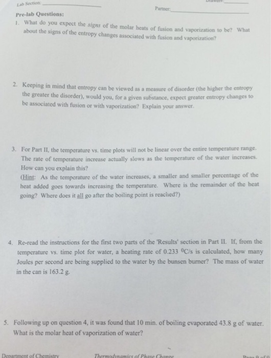 Solved Help With These Chem Pre Lab Questions Thank You