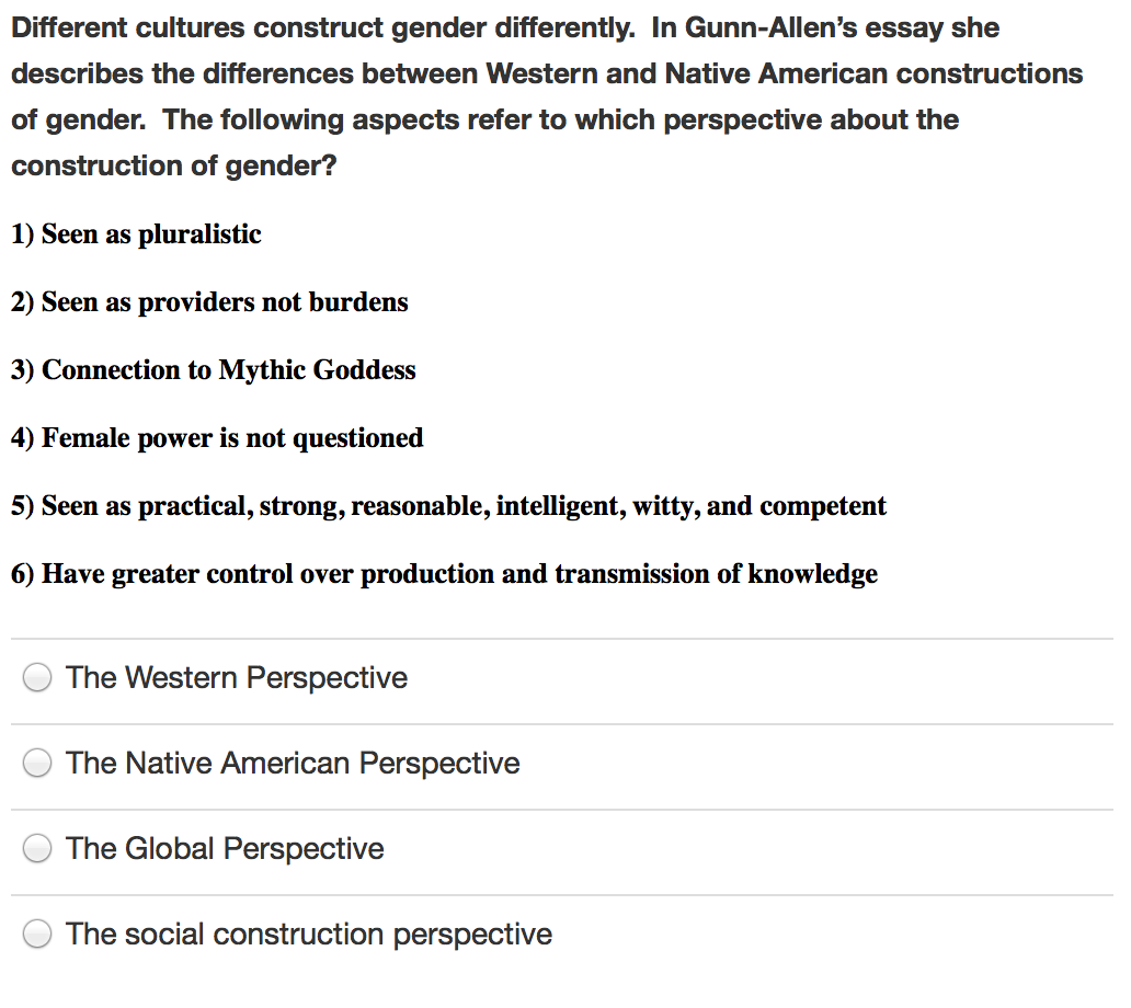 Barack Obama Essay Paper Question Different Cultures Construct Gender Differently In Gunnallens  Essay She Describes The Differen High School Essay also How To Use A Thesis Statement In An Essay Solved Different Cultures Construct Gender Differently I  Essay Science And Religion