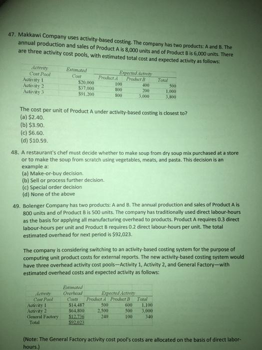 Makkawi Company Uses Activity Based Costing. The C