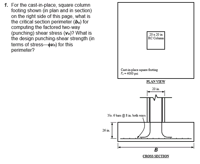 Solved: For The Cast-in-place, Square Column Footing Shown
