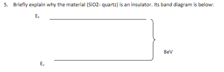 5. Briefly explain why the material (Sio2- quartz) is an insulator. Its band diagram is below: Ec 8eV Ev