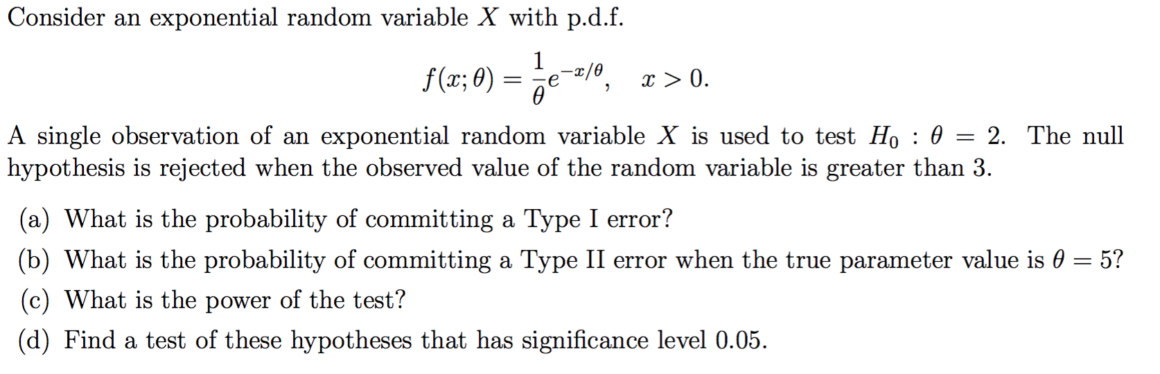 Solved: Consider An Exponential Random Variable X With P d