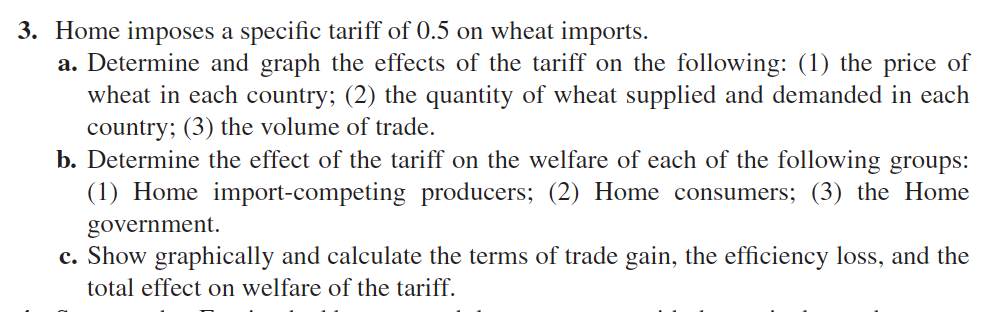 3. Home imposes a specific tariff of 0.5 on wheat imports. a. Determine and graph the effects of the tariff on the following: (1) the price of wheat in each country; (2) the quantity of wheat supplied and demanded in each country; (3) the volume of trade. b. Determine the effect of the tariff on the welfare of each of the following groups: (1) Home import-competing producers: (2) Home consumers; (3) the Home government. c. Show graphically and calculate the terms of trade gain, the efficiency loss, and the total effect on welfare of the tariff.