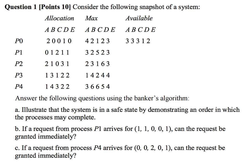 Question 1 [Points 10] Consider the following snapshot of a system: Available Allocation Max ABC DE ABCDE ABC DE 2 0 0 1 0 42 1 2 3 3 3 3 1 2 P0 0 1 2 11 P1 3 25 2 3 2 1 0 3 1 2 3 1 6 3 P2 1 3 1 2 2 1 4 2 4 4 P3 1 43 22 36 6 54 P4 Answer the following questions using the bankers algorithm: a. Illustrate that the system is in a safe state by demonstrating an order in which the processes may complete. b. If a request from process P1 arrives for (1, 1, 0, 0, 1), can the request be granted immediately? c. If a request from process P4 arrives for (0, 0, 2, 0, 1), can the request be granted immediately?