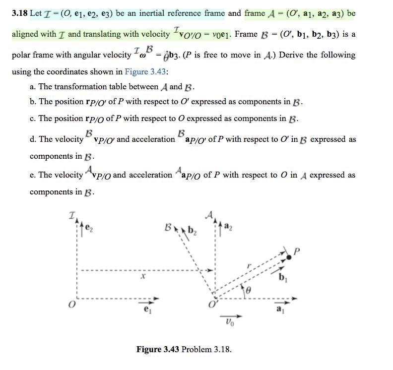 3.18 Let!= (O, El , E2, E3) Be An Inertial Referen... | Chegg.com