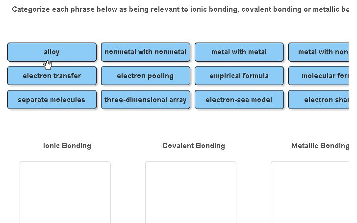 Image For Categorize Each Phrase Below As Being Relevant To Ionic Bonding Covalent Or