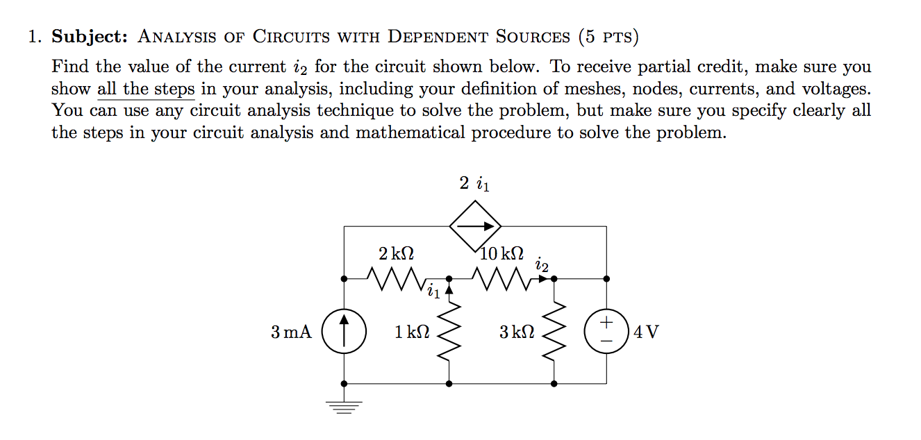 Solved 1 Subject Analysis Of Circuits With Dependent So Circuit Package Troubleshooting Basic Electrical Sources 5 Pts