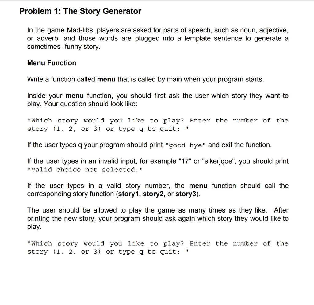 problem 1 the story generator in the game mad libs players are asked