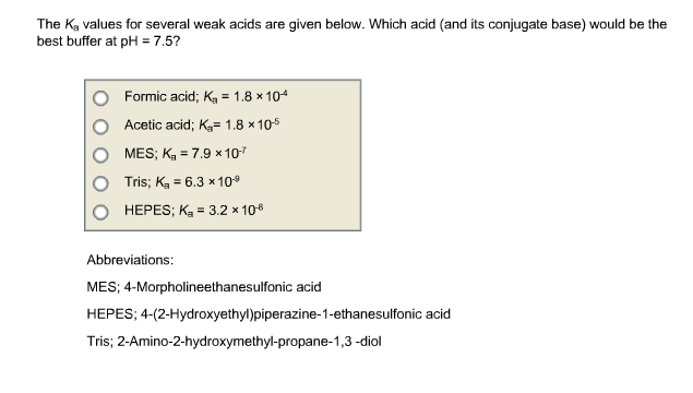 Solved The K A Values For Several Weak Acids Are Given Be Chegg Com