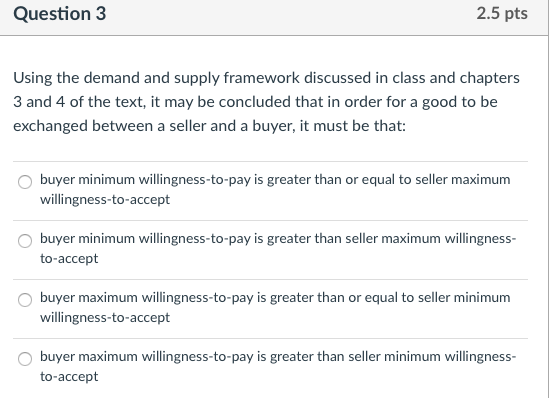 solved question 3 2 5 pts using the demand and supply fra