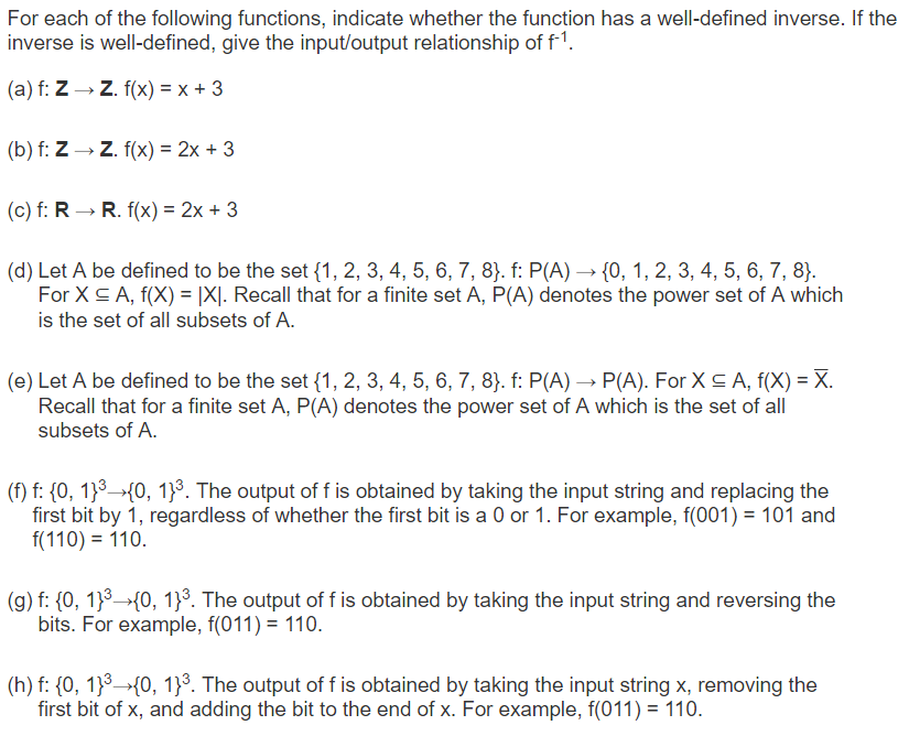 Solved: For Each Of The Following Functions, Indicate Whet ...
