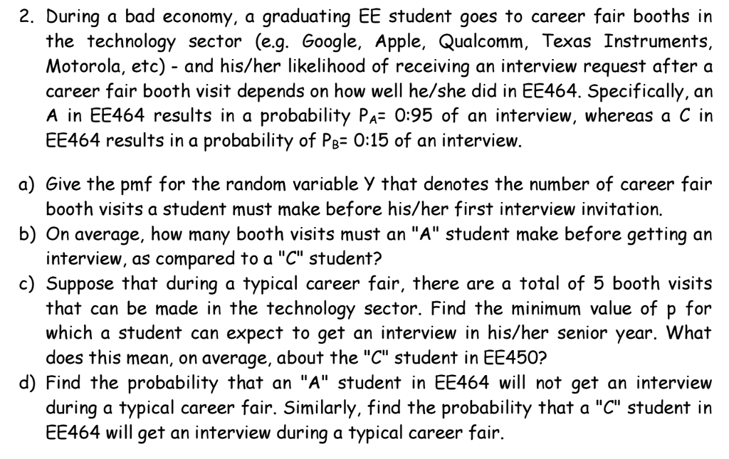 Solved: During A Bad Economy, A Graduating EE Student Goes