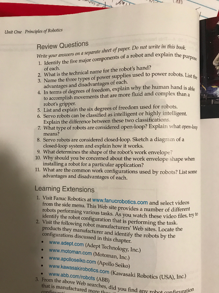 Solved Unit One Principles Of Robotics Review Questions W