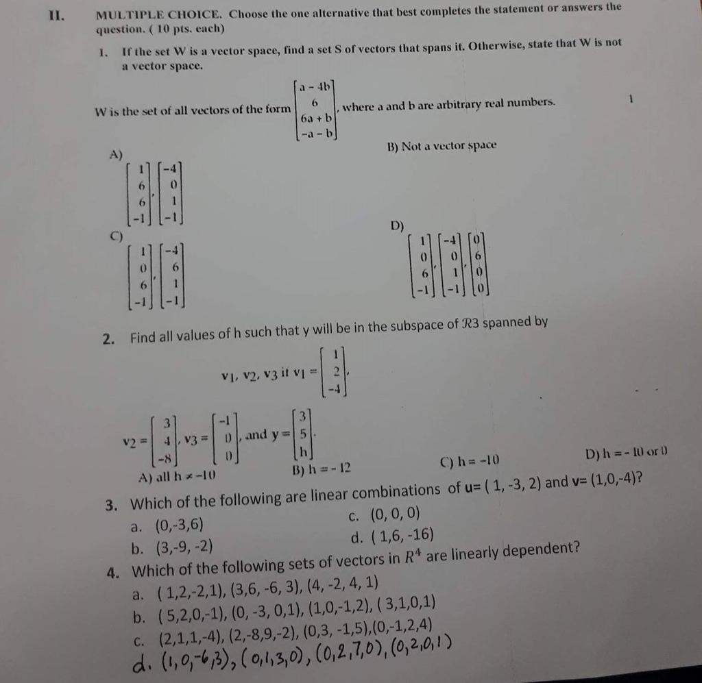 solved ii multiple choice choose the one alternative th