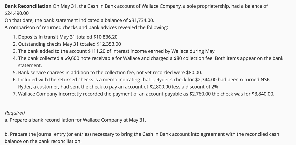 solved bank reconciliation on may 31 the cash in bank ac