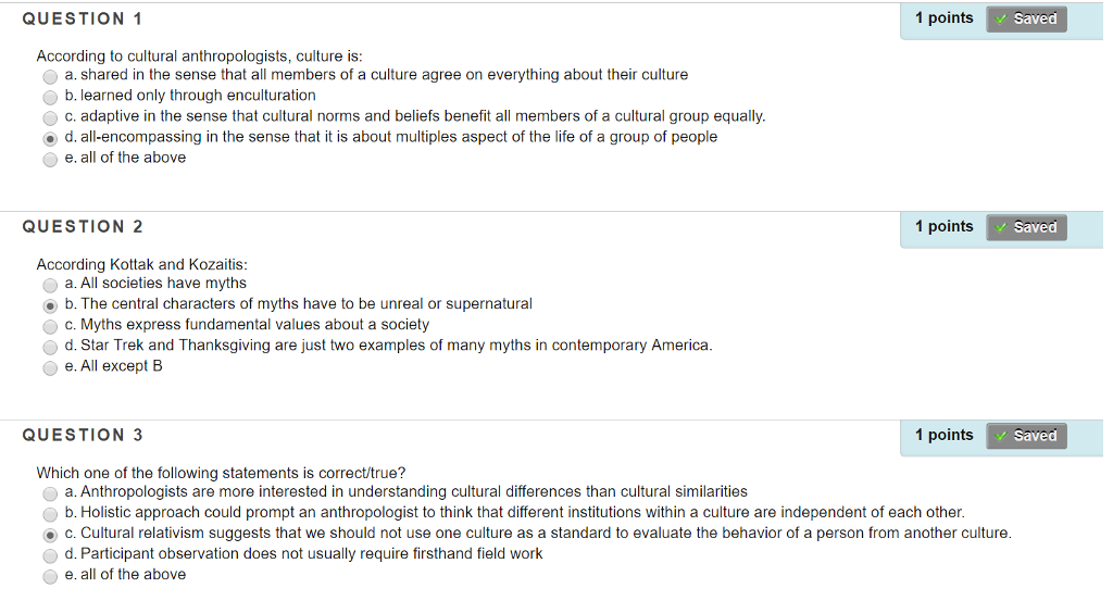According To Cultural Anthropologists, Culture Is