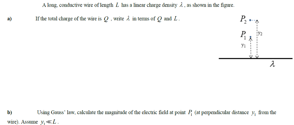 Solved: A Long, Conductive Wire Of Length L Has A Linear C ...