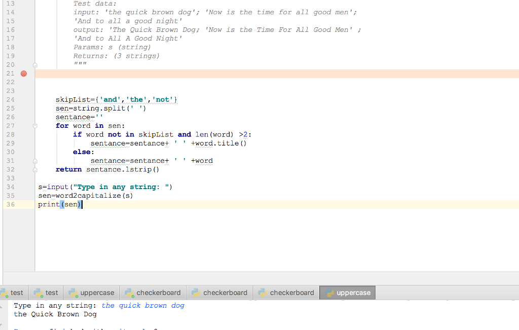 Solved: Python: Look At The Code (i e  Test Data )  The In