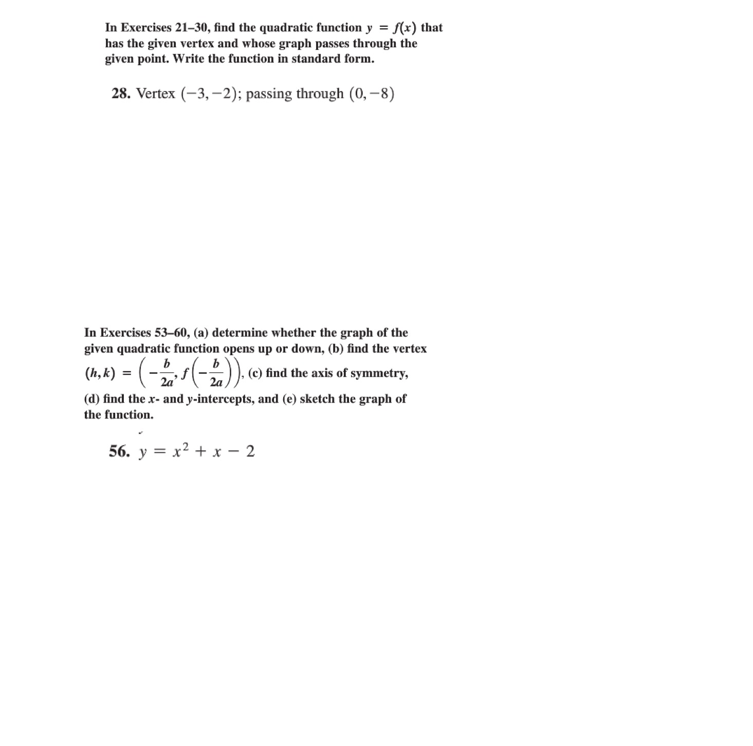Precalculus archive october 26 2015 chegg in exercises 21 30 find the quadratic function y falaconquin