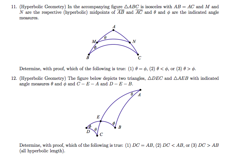 11  (Hyperbolic Geometry) In The Accompanying Figu    | Chegg com