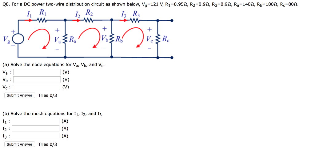 Solved: Q8. For A DC Power Two-wire Distribution Circuit A ... on