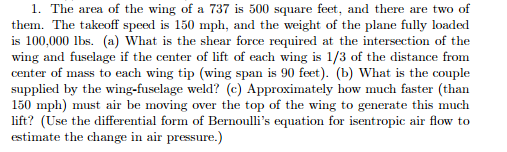 The Area Of The Wing Of A 737 Is 500 Square Feet