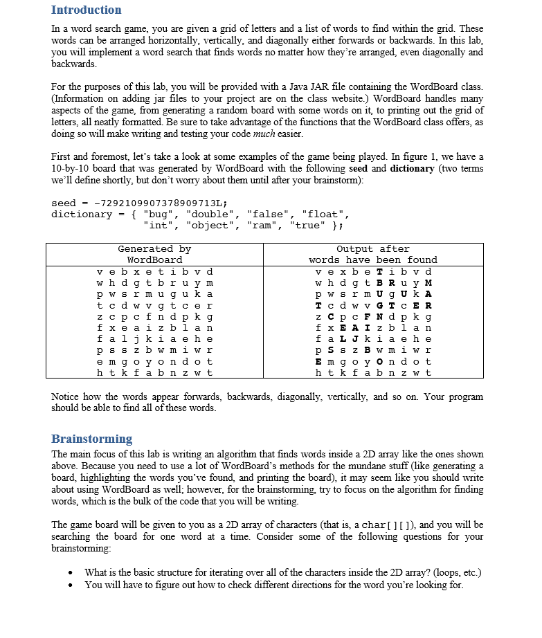 Need help with this java assignment here is the chegg introduction in a word search game you are given a grid of letters and a altavistaventures Gallery