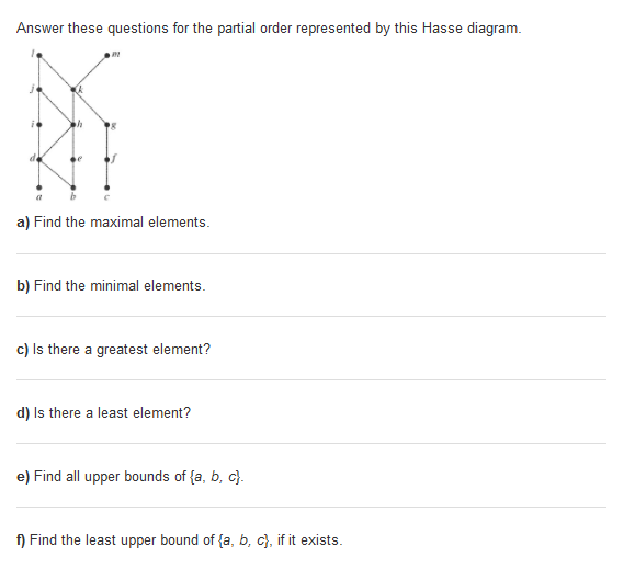 Solved g find all the lower bounds of fgh hfind the answer these questions for the partial order represented by this hasse diagram a find ccuart Choice Image