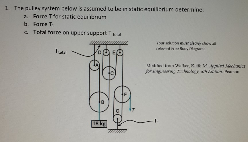 Solved: 1  The Pulley System Below Is Assumed To Be In Sta