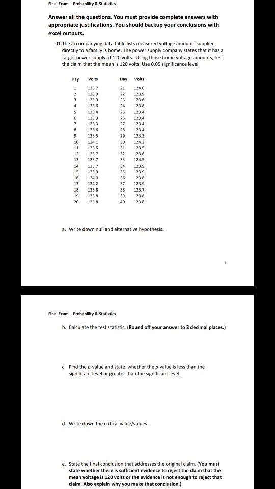 Solved: Final Exam Probability & Statistics Answer All The