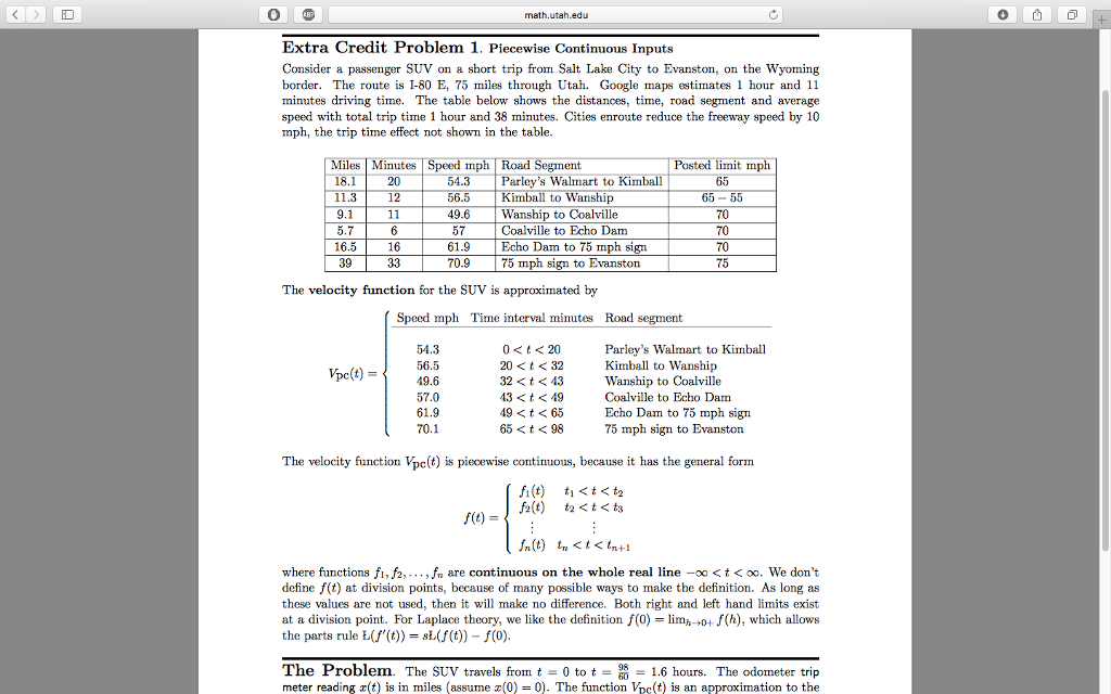 Solved: Math Utah.ed Extra Credit Problem 1. Piecewise Con ...