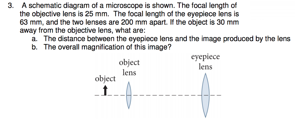 Solved 3 a schematic diagram of a microscope is shown t a schematic diagram of a microscope is shown the focal length of the ccuart Images