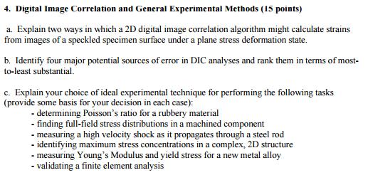 Solved: Digital Image Correlation And General Experimental