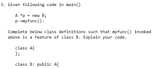 Solved: Given The Code Below, Provide Definition Of The Ad