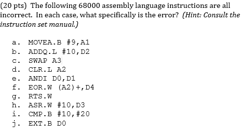 Solved The Following 68000 Assembly Language Instructions