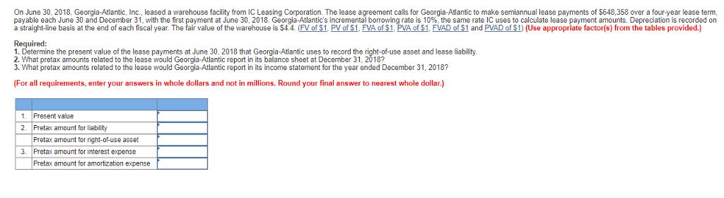 On June 30 2018 Georgia Atlantic Inc Leased A