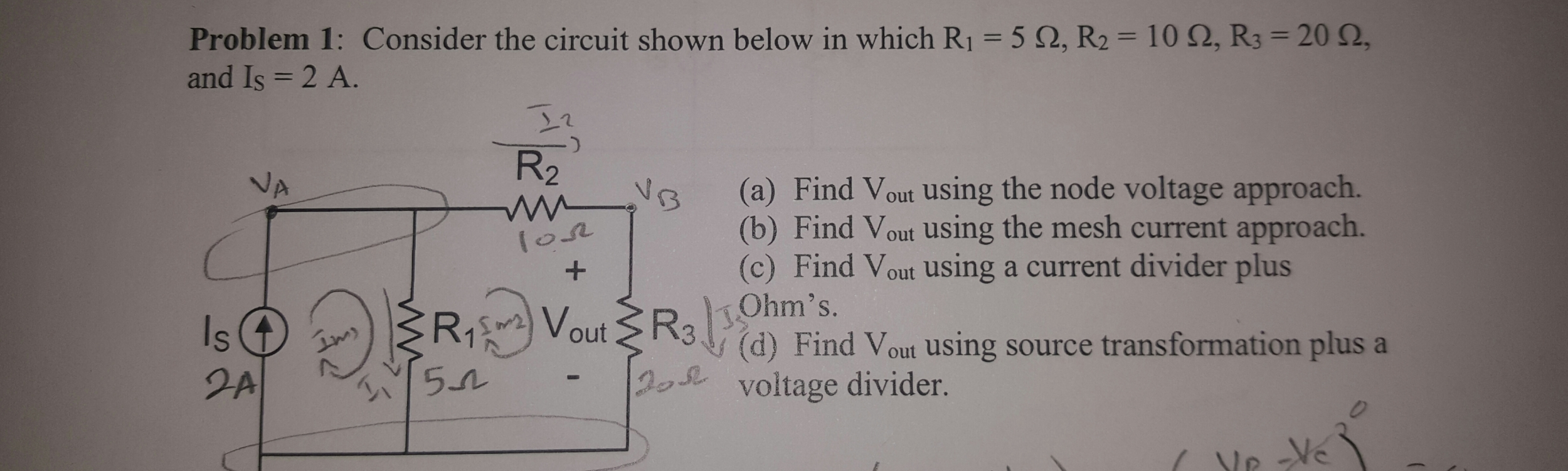 Solved Consider The Circuit Shown Below In Which R 1 5 Is A Current Divider With Voltage Source