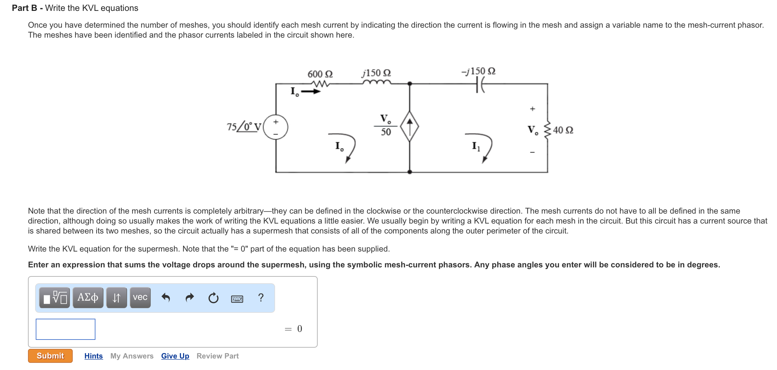 Solved Part B Write The Kvl Equations Once You Have Det Direction Of Current In A Circuit Image For Determined Number