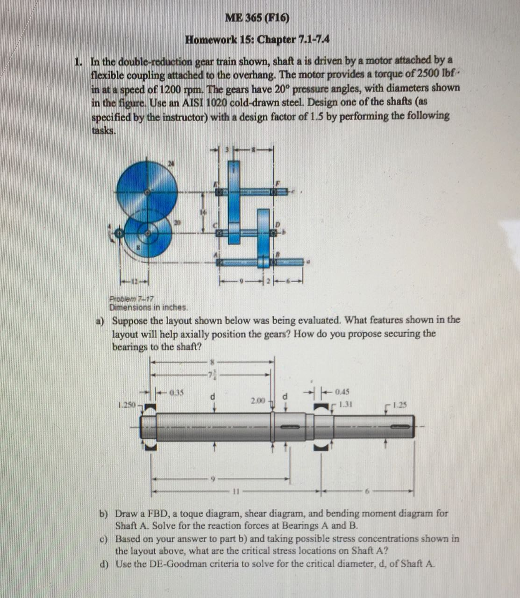 Solved: In The Double-reduction Gear Train Shown, Shaft A ...