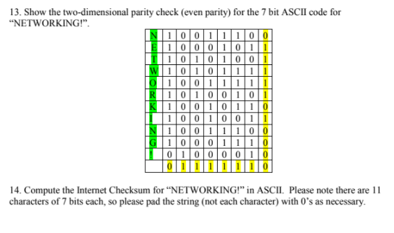 13  Show The Two-dimensional Parity Check (even Pa    | Chegg com