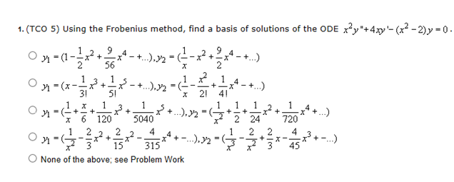 Using the Frobenius method, find a basis of soluti
