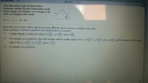 how to find angle given 2 sides