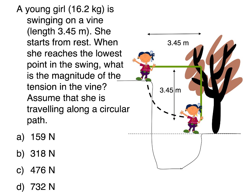 Solved A Young Girl 16 2 Kg Is Swinging On A Vine Leng