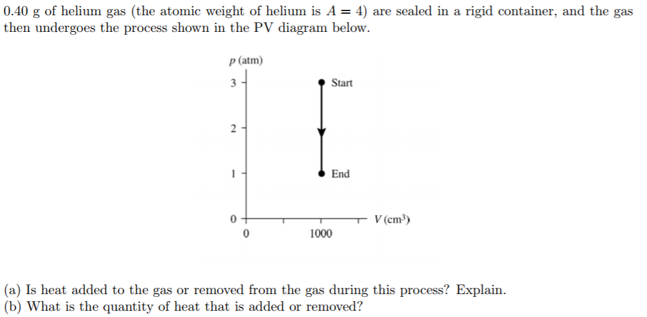 Solved 040 G Of Helium Gas The Atomic Weight Of Helium