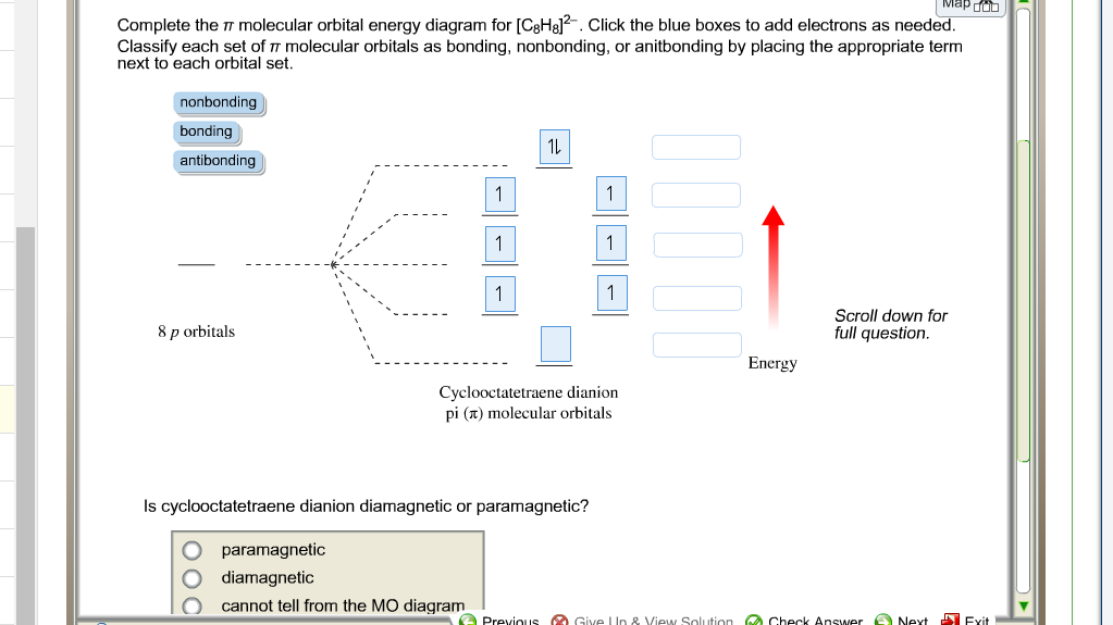Solved Complete The Molecular Orbital Energy Diagram Fo